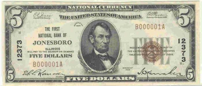 First National Bank of Jonesboro National Currency dollar bill