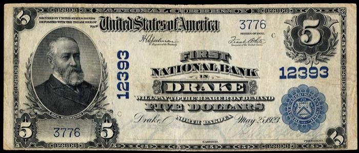 First National Bank, Drake National Currency dollar bill