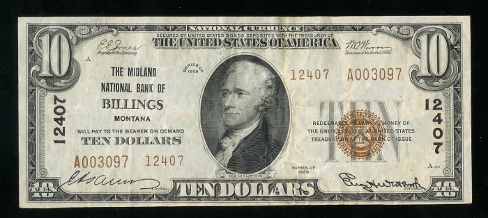 Midland National Bank of Billings National Currency dollar bill