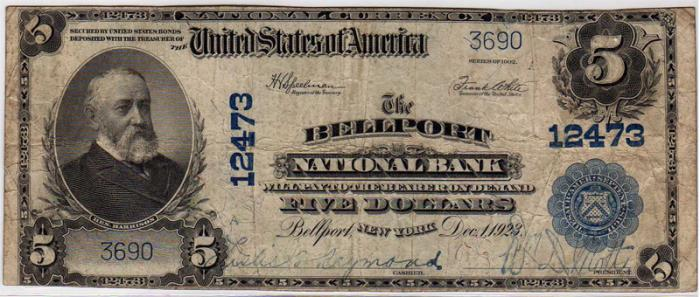 Bellport National Bank, Bellport National Currency dollar bill
