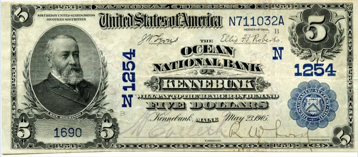 Ocean National Bank of Kennebunk National Currency dollar bill