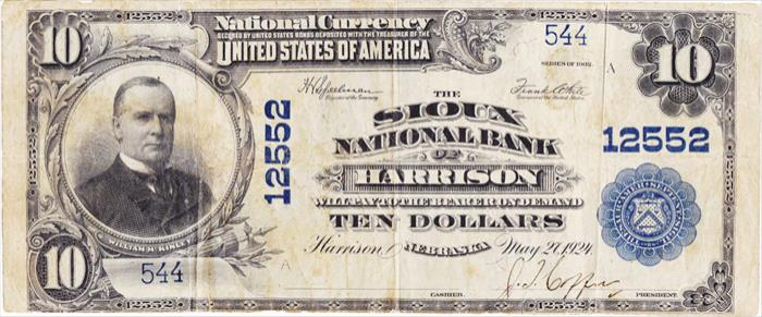 Sioux National Bank of Harrison National Currency dollar bill