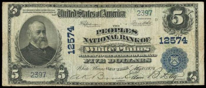 Peoples National Bank of White Plains National Currency dollar bill