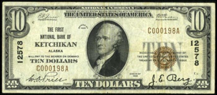 First National Bank of Ketchikan National Currency dollar bill