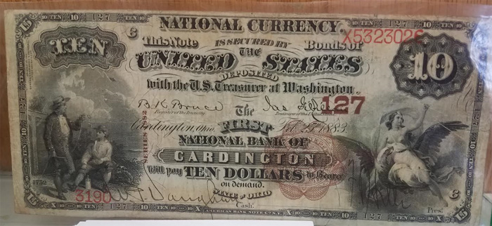First National Bank of Cardington National Currency dollar bill