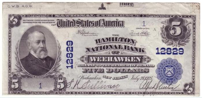 Hamilton National Bank of Weehawken National Currency dollar bill