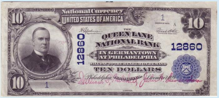 Queen Lane National Bank in Germantown at Philadelphia National Currency dollar bill