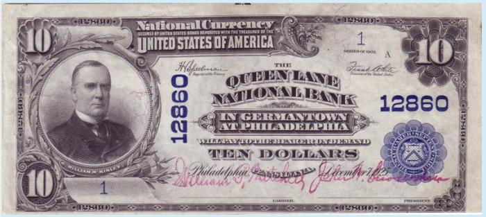 Queen Lane National Bank in Germantown at Philadelphia (12860) Ten Dollar Bill Series 1902 Blue Seal