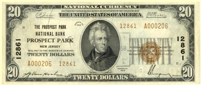 Prospect Park National Bank, Prospect Park National Currency dollar bill