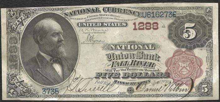 National Union Bank of Fall River (1288) Five Dollar Bill Series 1882 Brownback