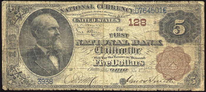 First National Bank of Chillicothe (128) Five Dollar Bill Series 1882 Brownback