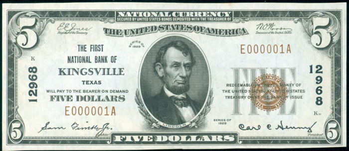 First National Bank of Kingsville National Currency dollar bill