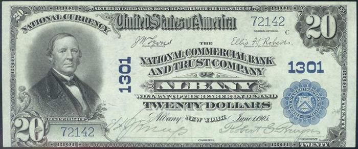 National Commercial Bank of Albany National Currency dollar bill