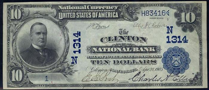 Clinton National Bank, Clinton (1314) Ten Dollar Bill Series 1902 Blue Seal