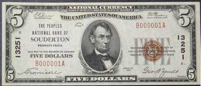 Peoples National Bank of Souderton (13251) Five Dollar Bill Series 1929