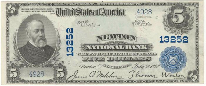 Newton National Bank, Newton (13252) Five Dollar Bill Series 1902 Blue Seal