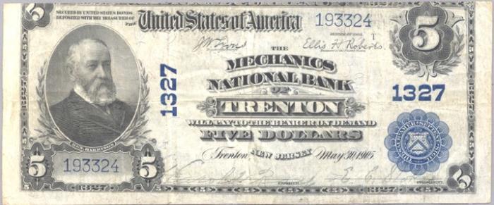 Mechanics National Bank of Trenton (1327) Five Dollar Bill Series 1902 Blue Seal