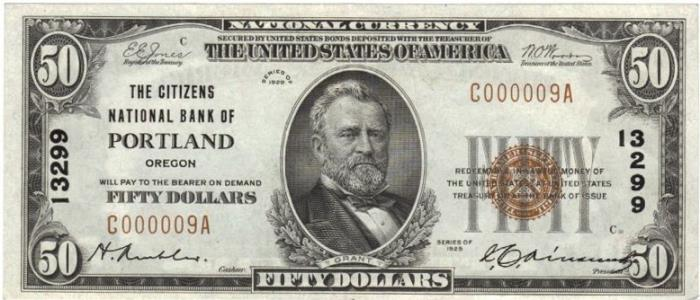Citizens National Bank of Portland National Currency dollar bill