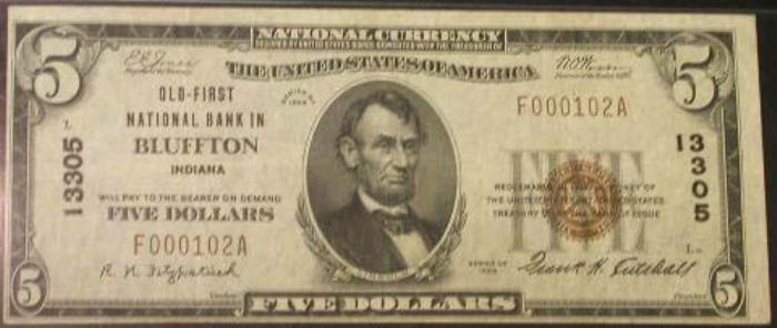 Old National Bank of Bluffton National Currency dollar bill