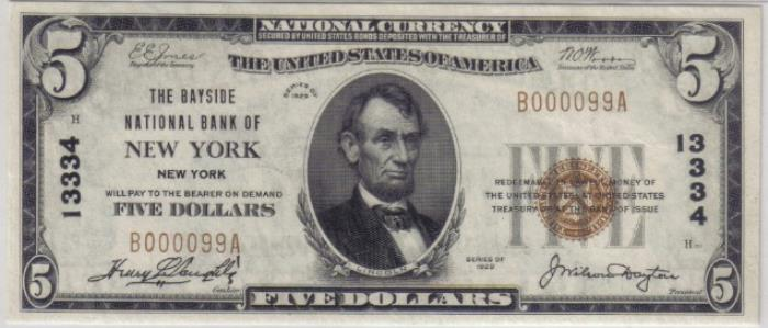 Bayside National Bank of New York (13334) Five Dollar Bill Series 1929