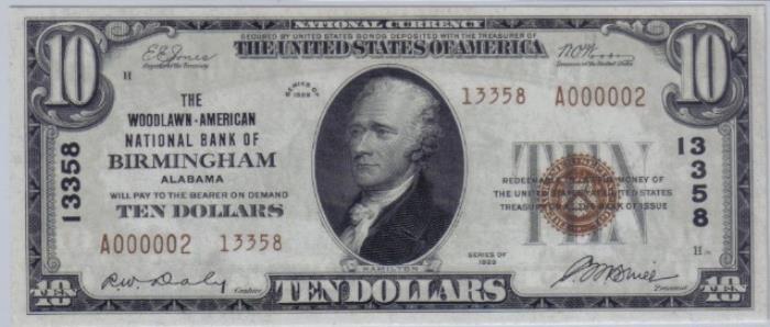 Woodlawn-American National Bank of Birmingham National Currency dollar bill