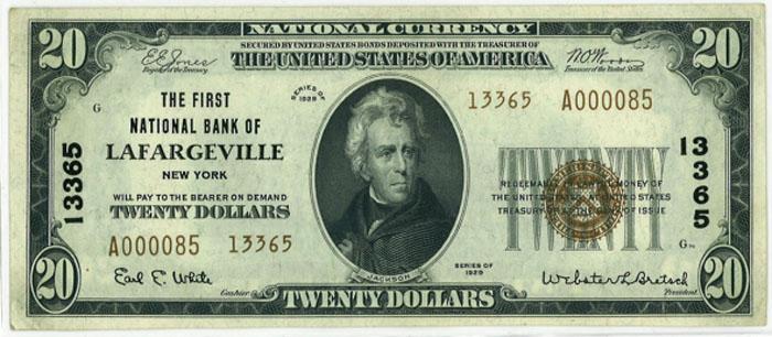 First National Bank of Lafargeville (13365) Twenty Dollar Bill Series 1929