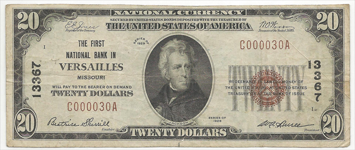 First National Bank in Versailles National Currency dollar bill