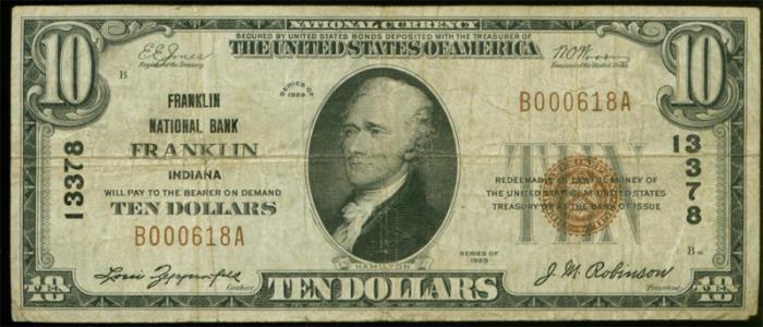 Franklin National Bank, Franklin National Currency dollar bill