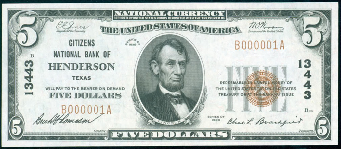 Citizens National Bank of Henderson National Currency dollar bill