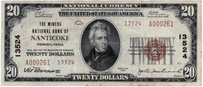 Miners National Bank of Nanticoke (13524) Twenty Dollar Bill Series 1929