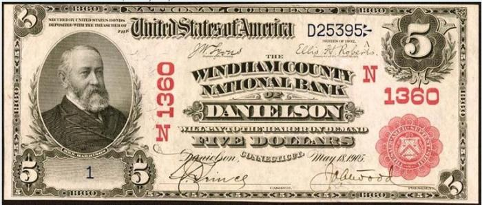 Windham County National Bank of Brooklyn (1360) Five Dollar Bill Series 1902 Red Seal