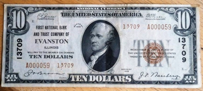 First National Bank and Trust Company of Evanston (13709) Ten Dollar Bill Series 1929