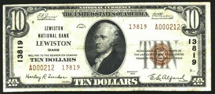 Lewiston National Bank, Lewiston (13819) Ten Dollar Bill Series 1929