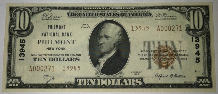Philmont National Bank, Philmont National Currency dollar bill