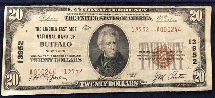 Lincoln-East Side National Bank of Buffalo National Currency dollar bill