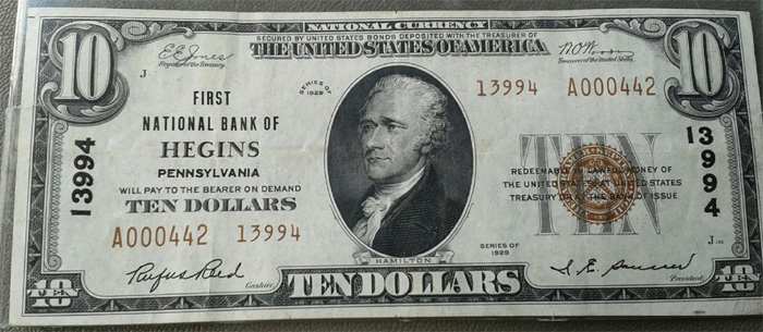 First National Bank of Hegins National Currency dollar bill