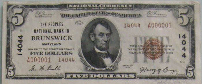 Peoples National Bank in Brunswick National Currency dollar bill