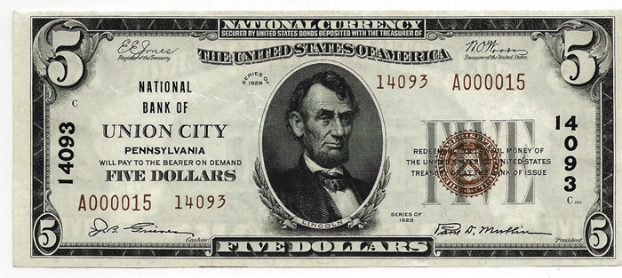 National Bank of Union City National Currency dollar bill