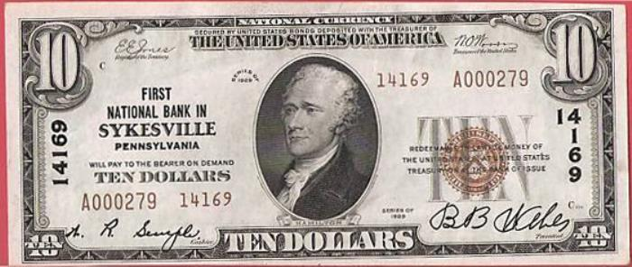 First National Bank in Sykesville National Currency dollar bill
