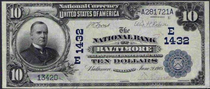 National Bank of Baltimore National Currency dollar bill