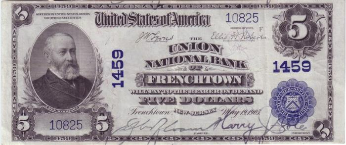 Union National Bank of Frenchtown National Currency dollar bill
