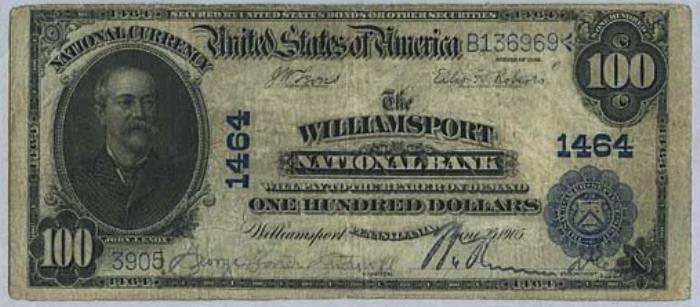 Jersey Shore National Bank, Jersey Shore National Currency dollar bill
