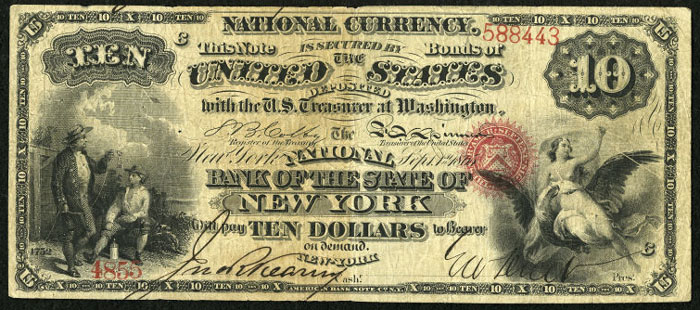 National Bank of The State of New York, New York National Currency dollar bill