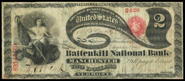 Battenkill National Bank of Manchester National Currency dollar bill