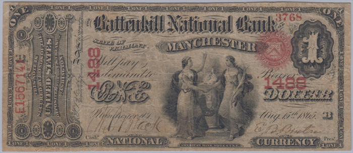 Battenkill National Bank of Manchester (1488) One Dollar Bill Original Series