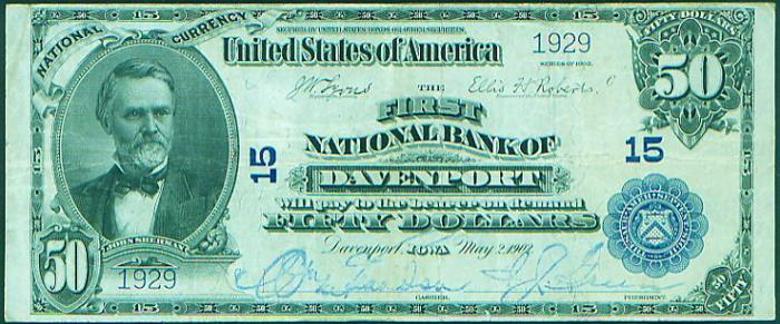 First National Bank of Davenport National Currency dollar bill
