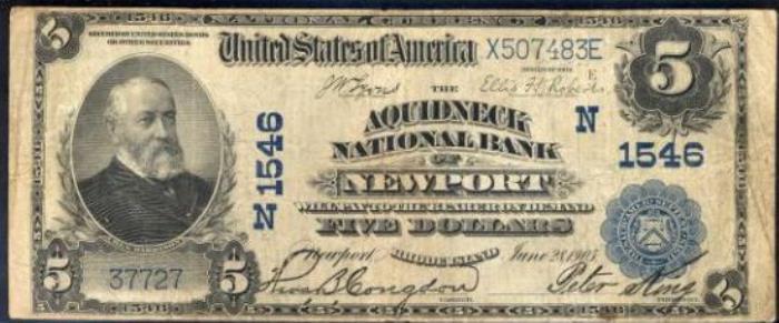 Aquidneck National Bank of Newport (1546) Five Dollar Bill Series 1902 Blue Seal