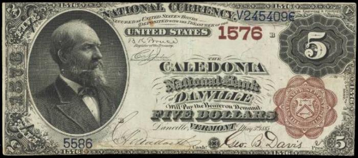 Caledonia National Bank of Danville National Currency dollar bill