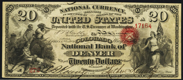 Colorado National Bank of Denver National Currency dollar bill