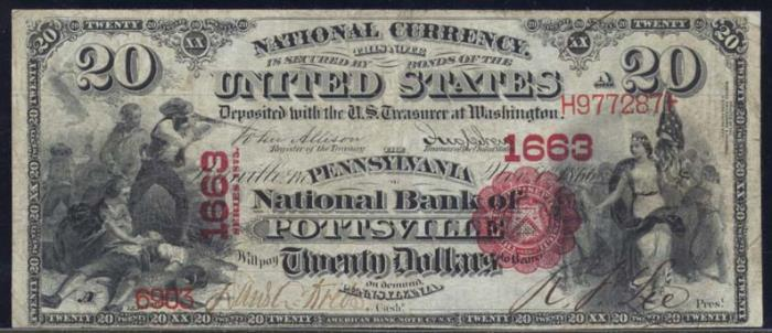 Pennsylvania National Bank of Pottsville National Currency dollar bill